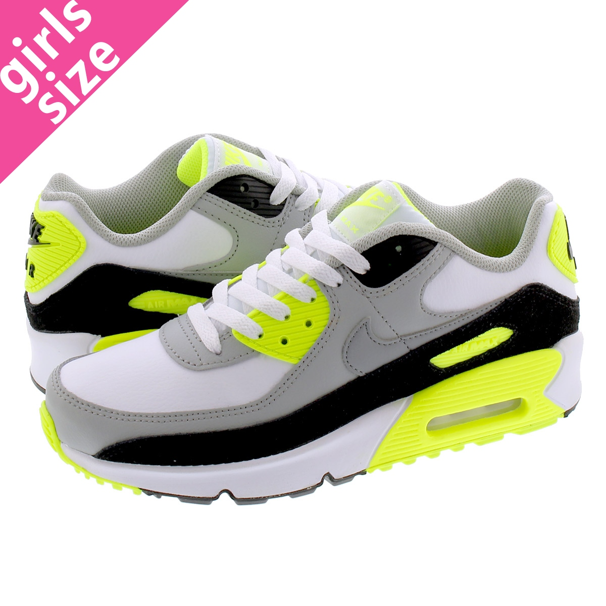 NIKE AIR MAX 90 LTR GS ナイキ エア マックス 90 レザー GS WHITE/PARTICLE GREY/VOLT/BLACK cd6864-101