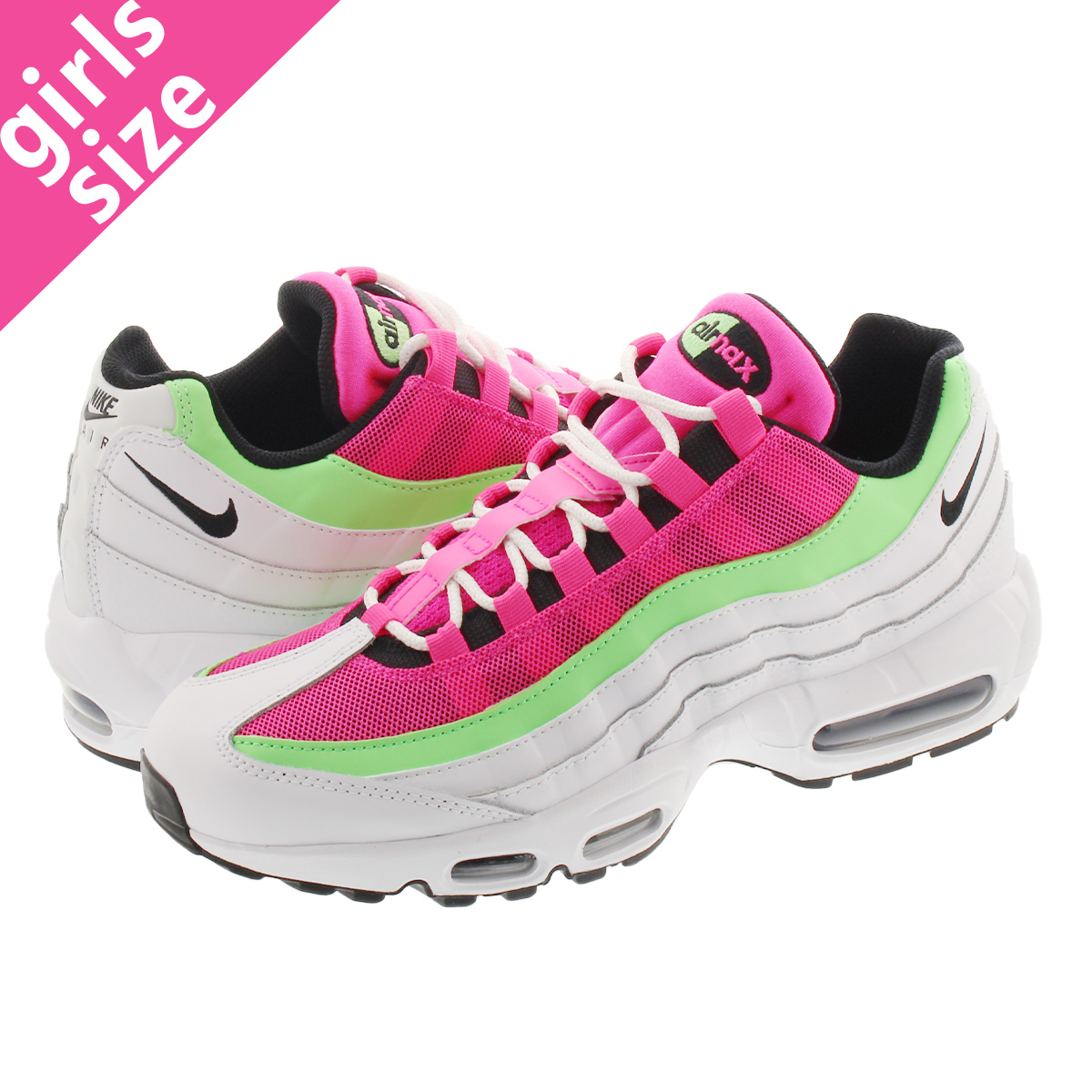 NIKE WMNS AIR MAX 95 ナイキ ウィメンズ エア マックス 95 WHITE/BLACK/HYPER PINK/ILLUSION GREEN cj0624-101