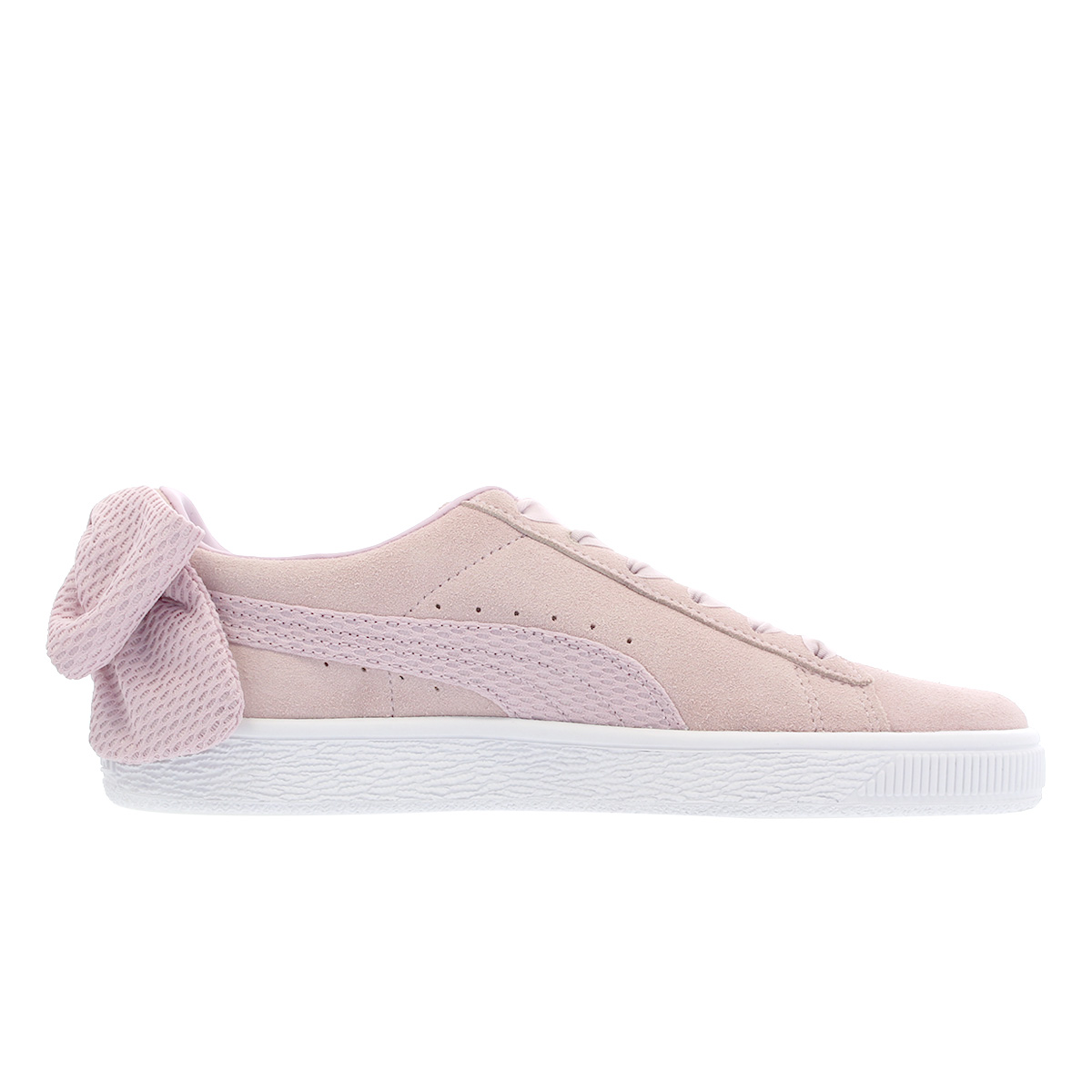 PUMA SUEDE BOW UPRISING WMNS Puma suede cloth BOW up rising women WINSOME  ORCHID PUMA WHITE 367 2ddf8d8d5