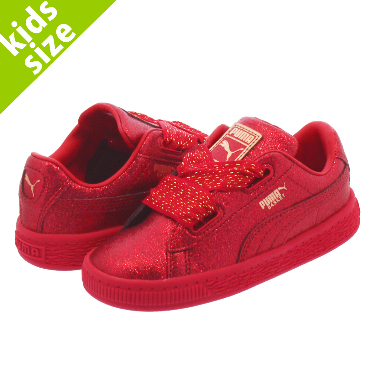 competitive price cc931 f631f PUMA BASKET HEART HOLIDAY GLAMOUR INFANT RIBBON RED/ROSE GOLD 367,632-01