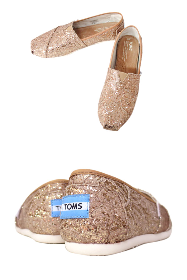 TOMS SHOES LACE GLITZ WOMEN's CLASSICS Toms shoes racing glitz womens classic ROSE GOLD