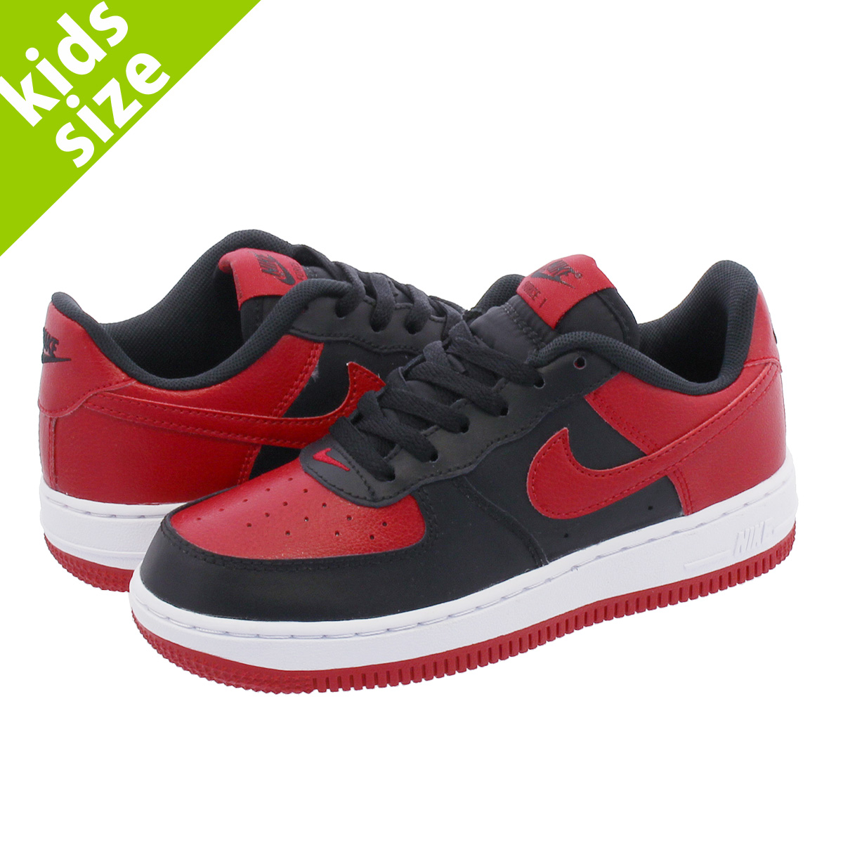 【キッズ サイズ】【16cm-22cm】 NIKE AIR FORCE 1 PS ナイキ エアフォース 1 PS BLACK/GYM RED/WHITE 596729-016