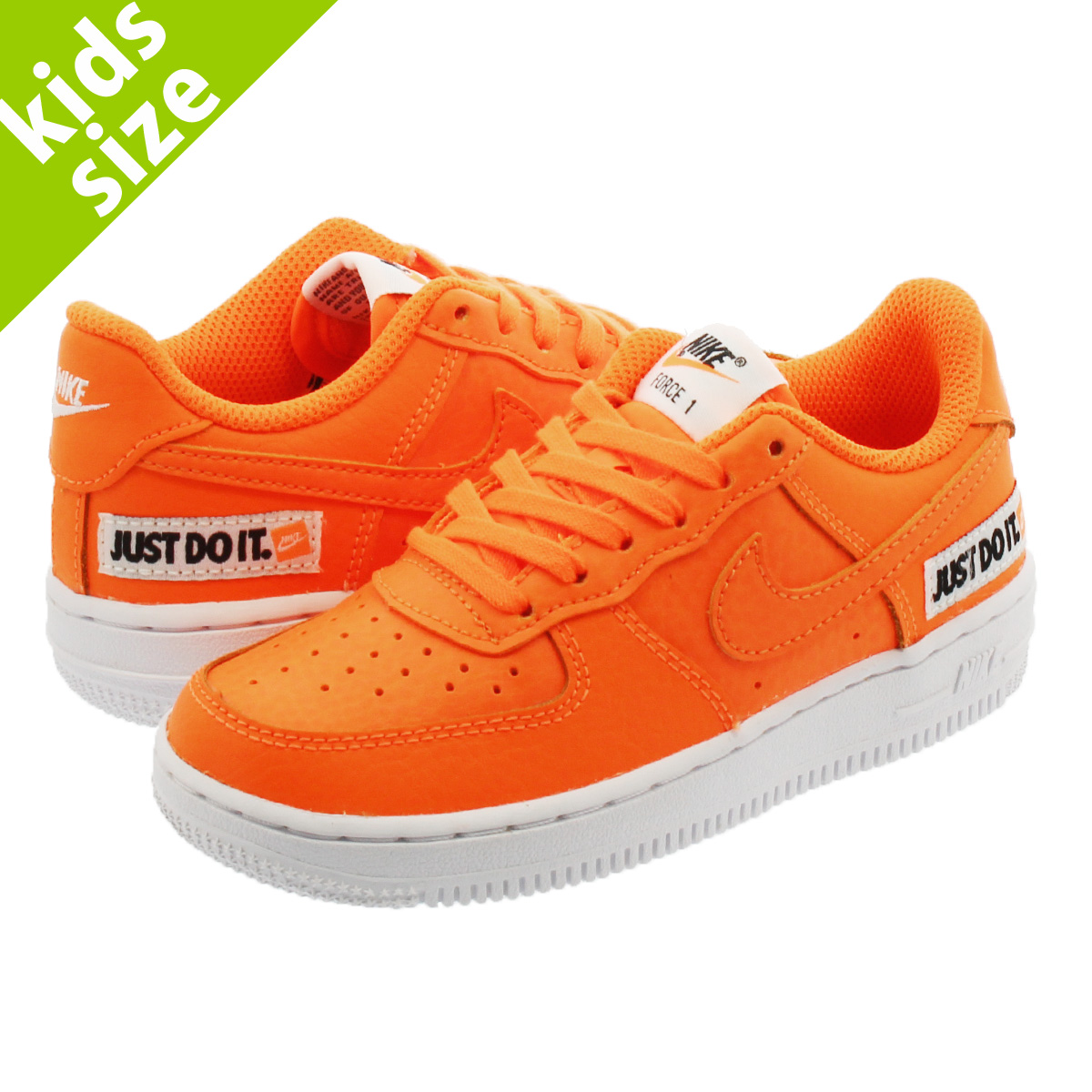 【キッズサイズ】【16-22cm】 NIKE AIR FORCE 1 LV8 PS 【JUST DO IT】 ナイキ エアフォース 1 LV8 PS TOTAL ORANGE/WHITE/BLACK at2988-800