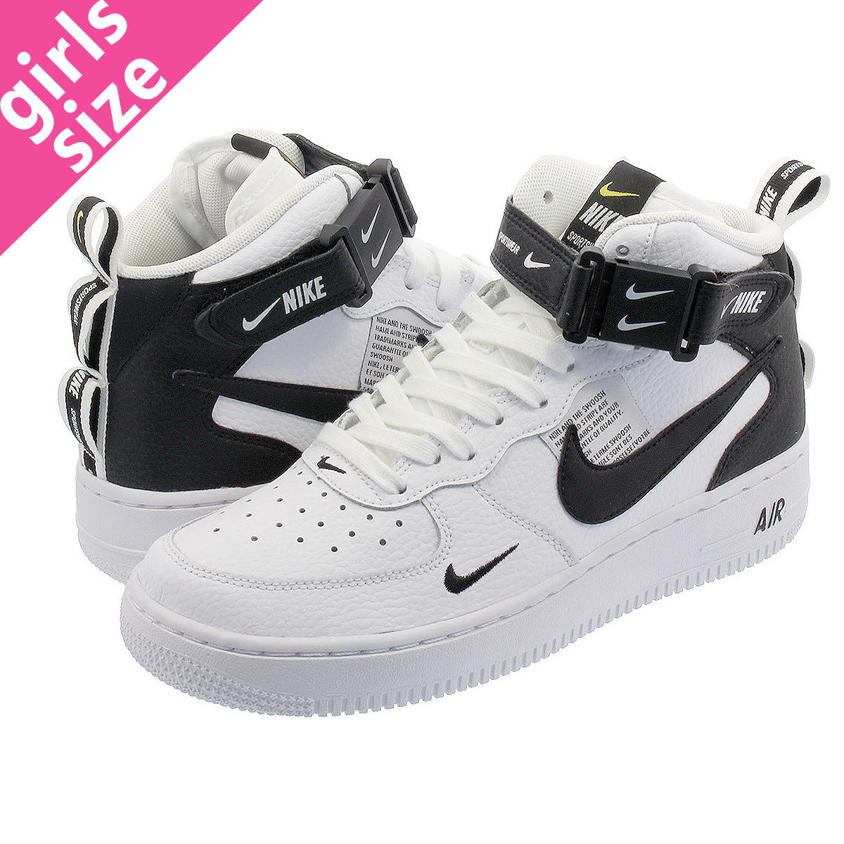 online store 1e980 12540 NIKE AIR FORCE 1 MID GS Nike air force 1 mid GS WHITE BLACK TOUR YELLOW  av3803-100