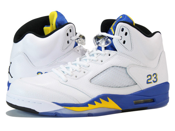 sale retailer 934f7 fc361 NIKE AIR JORDAN 5 RETRO WHITE BLUE YELLOW  LANEY
