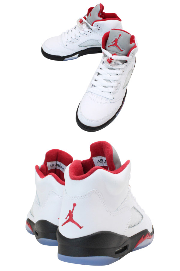 NIKE AIR JORDAN 5 RETRO GS Nike Air Jordan 5 retro GS WHITE/FIRE RED/BLACK