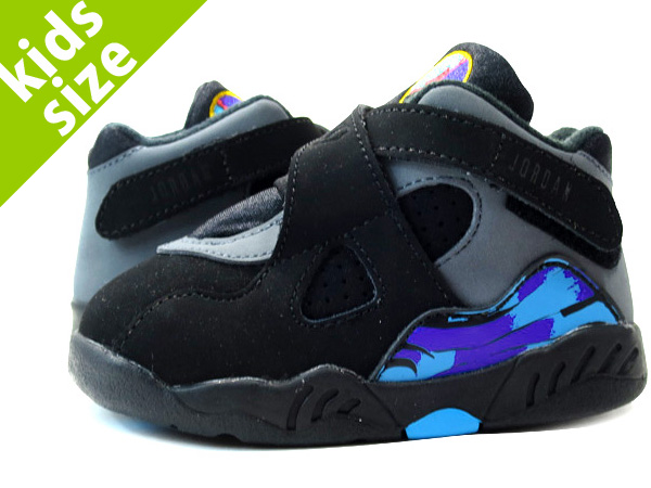 NIKE AIR JORDAN 8 RETRO TD Nike Air Jordan 8 nostalgic TD  BLACK GREY PURPLE BLUE 2036c61aa