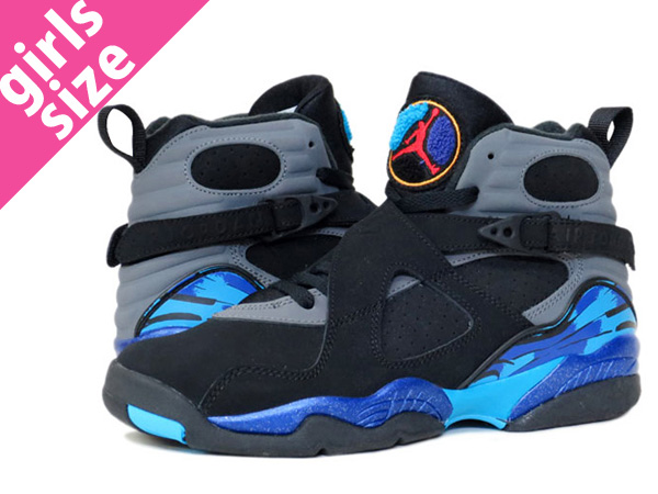 pretty nice 50cde e2e02 NIKE AIR JORDAN 8 RETRO GS BLACK/GREY/PURPLE/BLUE 【AQUA】