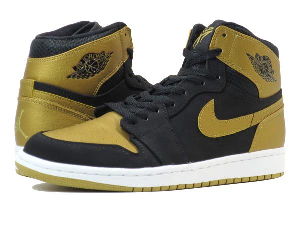 super popular 8e10a 183df NIKE AIR JORDAN 1 RETRO HI Nike Air Jordan 1 nostalgic high BLACK METALLIC  GOLD WHITE