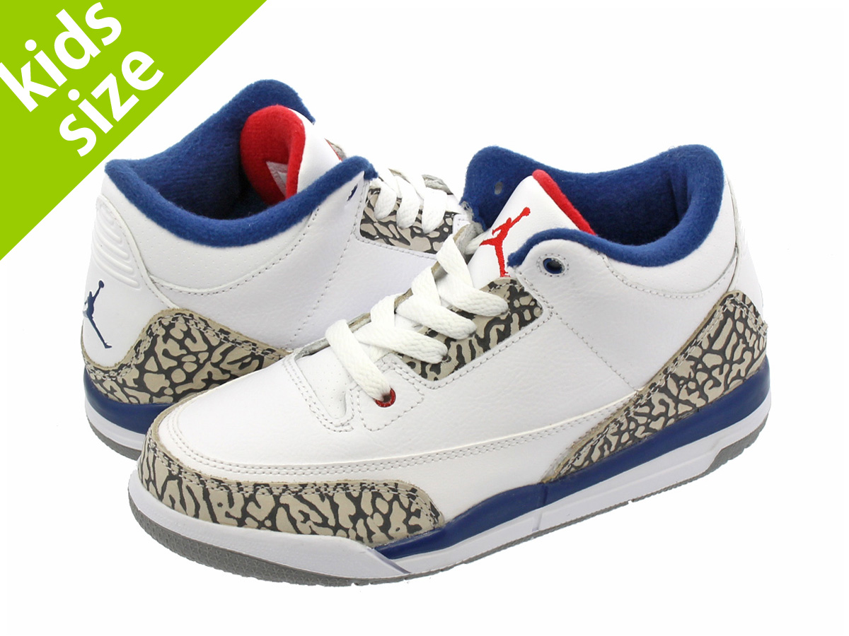 【キッズサイズ】【16-22cm】 NIKE AIR JORDAN 3 RETRO BP ナイキ エア ジョーダン 3 レトロ BP WHITE/FIRE RED/TRUE BLUE/CEMENT GREY 429487-106
