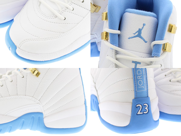 new concept 52b3d 1d3ac NIKE AIR JORDAN 12 RETRO GG WHITE METALLIC GOLD UNIVERSITY BLUE