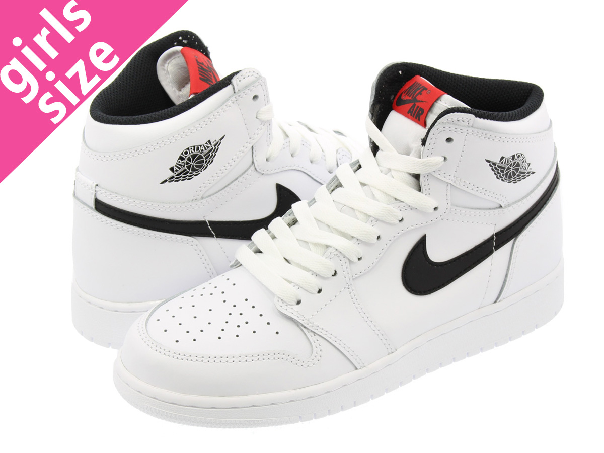 1bea874f0d73 NIKE AIR JORDAN 1 RETRO HIGH OG GS Nike Air Jordan 1 nostalgic high OG GS  WHITE BLACK UNIVERSITY RED