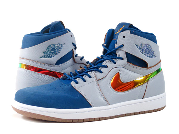 NIKE AIR JORDAN 1 RETRO HIGH NOUVEAU Nike Air Jordan 1 nostalgic high  nouveau WOLF GREY/FRENCH BLUE/WHITE/GOLD LEAF