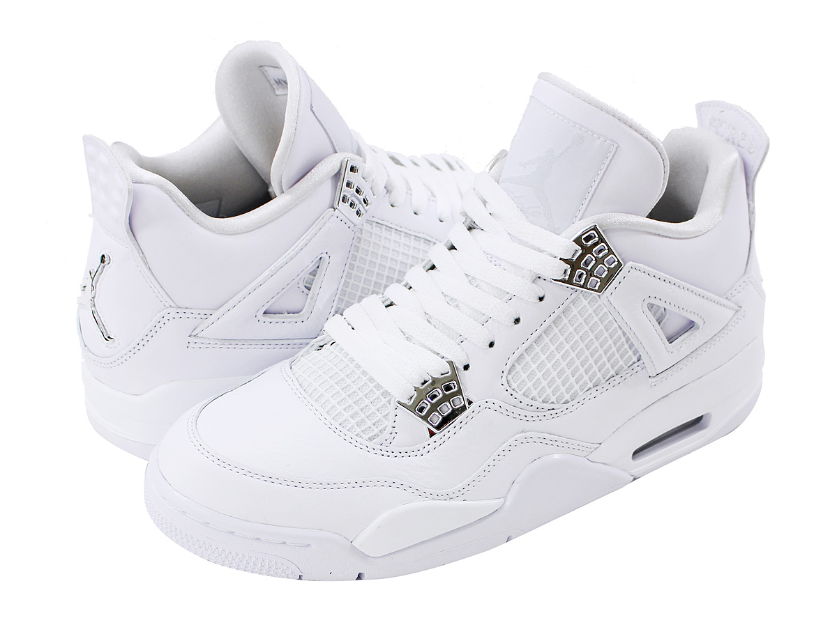 reputable site 58774 ac5d4 NIKE AIR JORDAN 4 RETRO Nike Air Jordan 4 nostalgic WHITE METALLIC SILVER PURE  ...