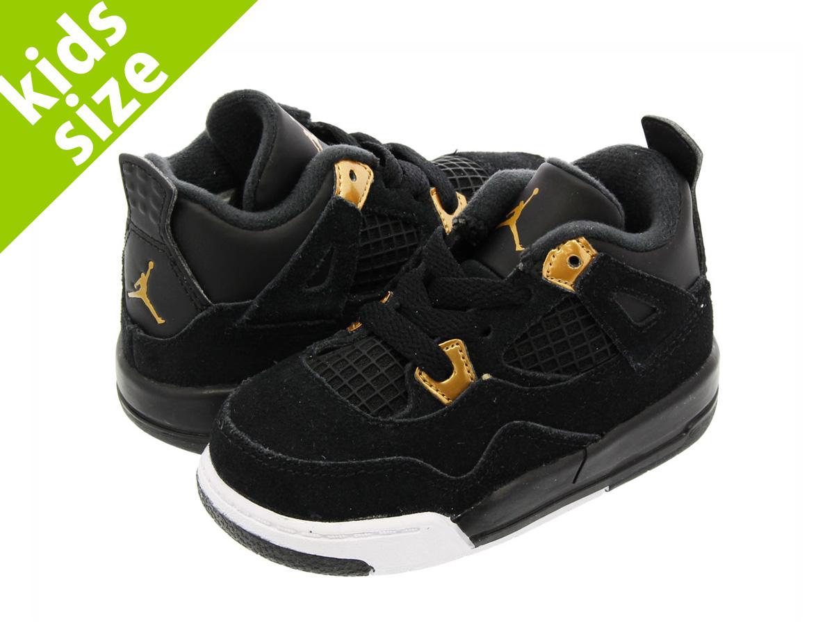 NIKE AIR JORDAN 4 RETRO TD Nike Air Jordan 4 nostalgic TD BLACK METALLIC  GOLD WHITE a14030822