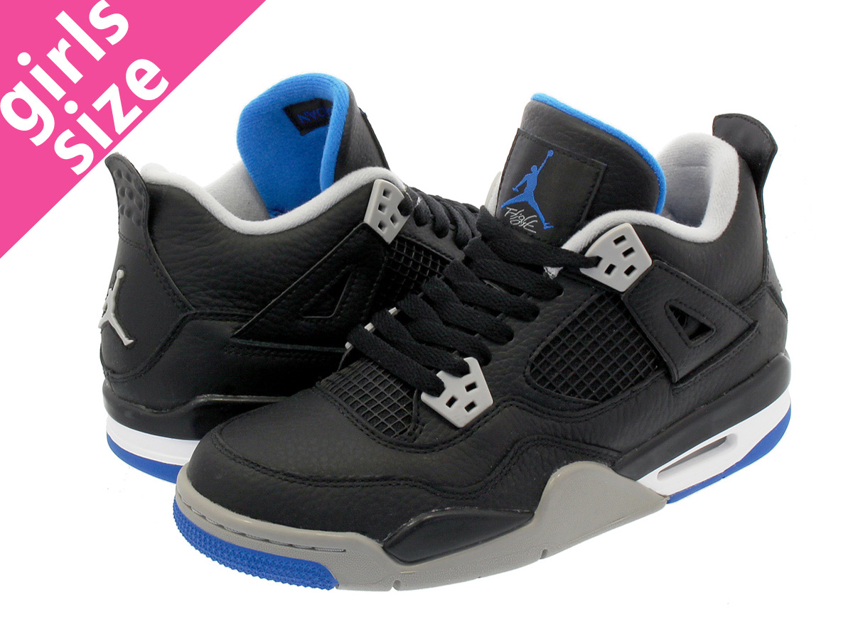 【大人気の女の子サイズ♪】 NIKE AIR JORDAN 4 RETRO BG 【MOTOR SPORTS AWAY】 ナイキ エア ジョーダン 4 レトロ BG BLACK/SOAR/MATTE SILVER/WHITE 408452-006