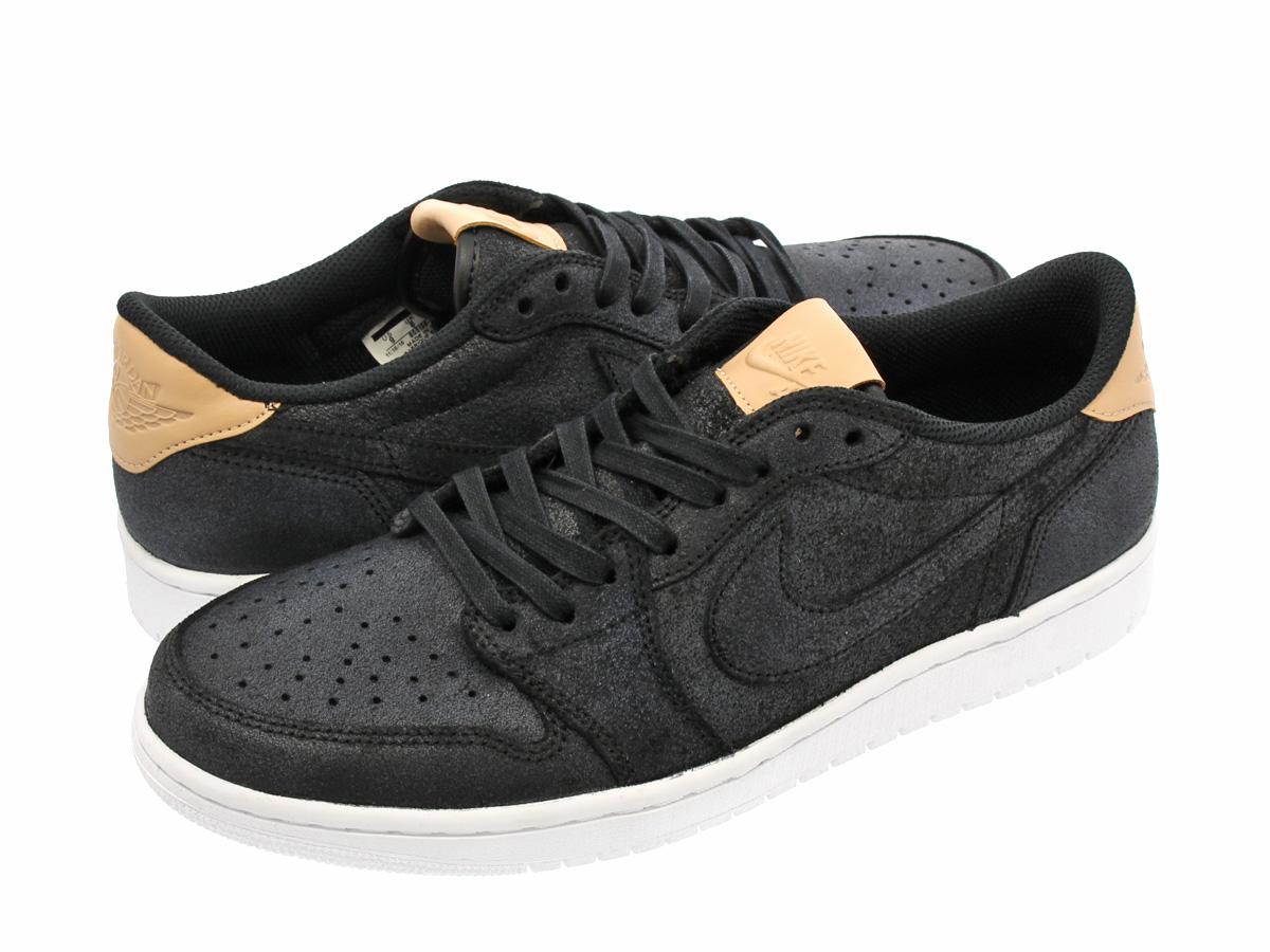NIKE AIR JORDAN 1 RETRO LOW OG PREMIUM Nike Air Jordan 1 nostalgic low OG  premium BLACK VACHETTA TAN WHITE 53711aa8b85