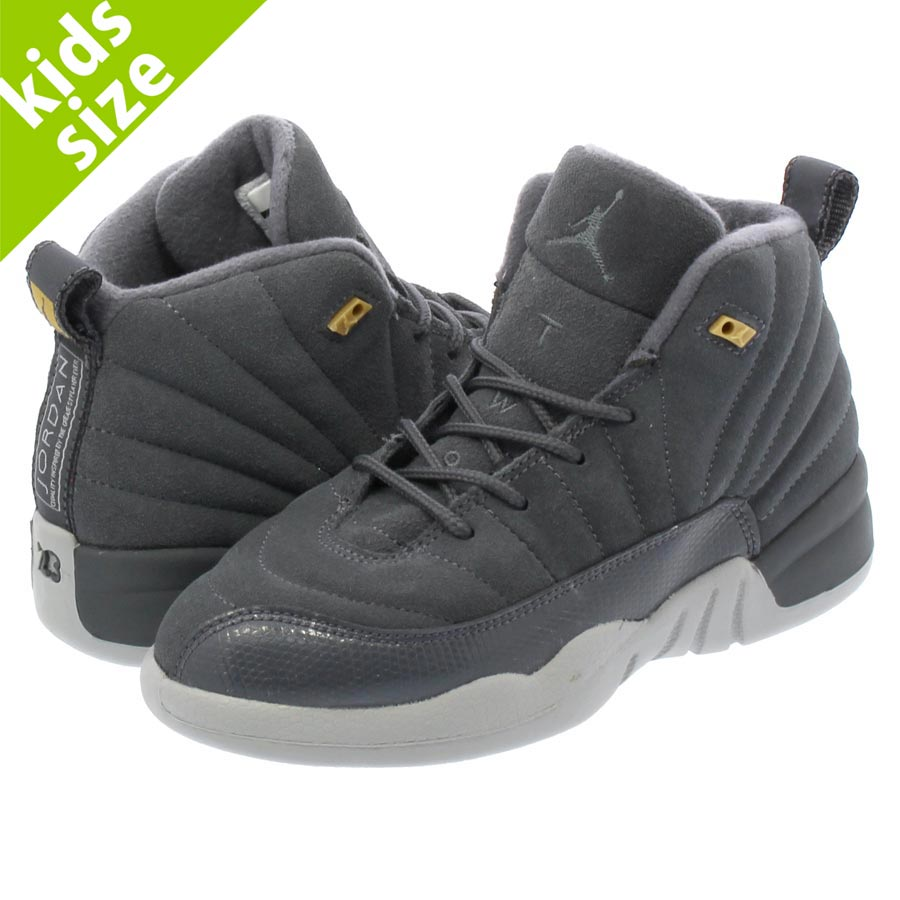 316fe453849d NIKE AIR JORDAN 12 RETRO PS Nike Air Jordan 12 nostalgic PS DARK GREY DARK  GREY WOLF GREY 151