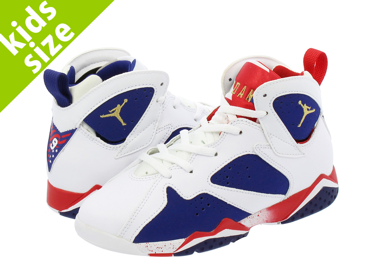 【キッズサイズ】【16-22cm】 NIKE AIR JORDAN 7 RETRO BP 【TINKER ALTERNATE】 ナイキ エア ジョーダン 7 レトロ BP WHITE/METALLIC GOLD/ROYAL BLUE/INFRARED 304773-133