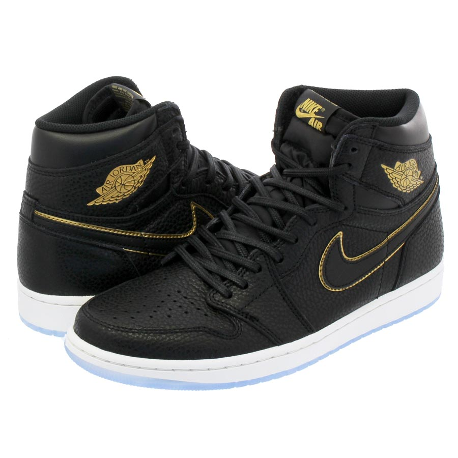 806c0f2a79e16c NIKE AIR JORDAN 1 RETRO HIGH OG Nike Air Jordan 1 nostalgic high OG BLACK METALLIC  GOLD SUMMIT WHITE