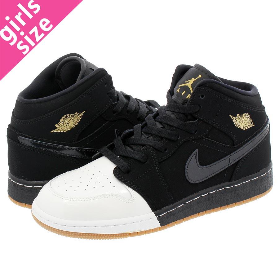 brand new 50fba 6fc43 NIKE AIR JORDAN 1 MID GS Nike Air Jordan 1 mid GS BLACK GOLD WHITE GUM
