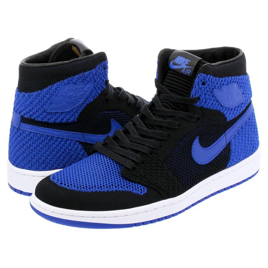 3ce14f649a16d4 NIKE AIR JORDAN 1 RETRO HI FLYKNIT Nike Air Jordan 1 nostalgic high fried  food knit BLACK GAME ROYAL WHITE