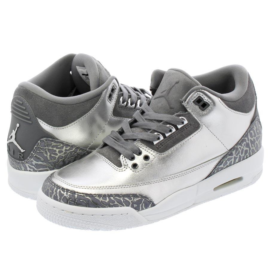 2fe27dfa778c NIKE AIR JORDAN 3 RETRO PREM HC Nike Air Jordan 3 nostalgic premium HC  METALLIC SILVER COOL GREY WHITE aa1243-020