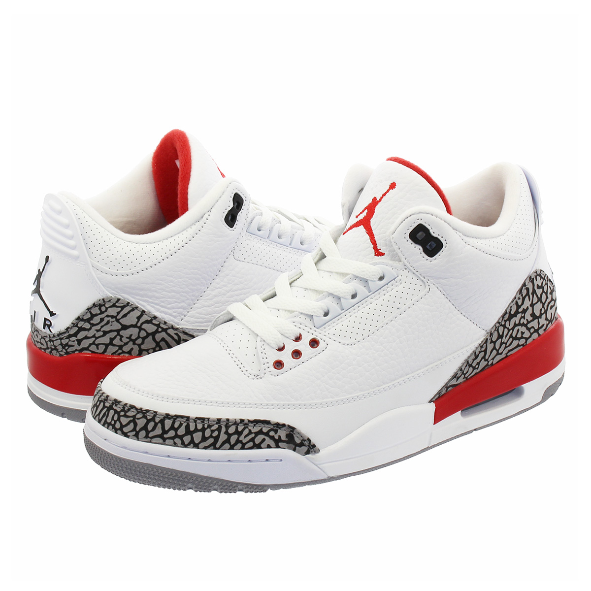 pretty nice 4de68 4324e NIKE AIR JORDAN 3 RETRO Nike Air Jordan 3 nostalgic WHITE/CEMENT GREY/FIRE  RED 136,064-116