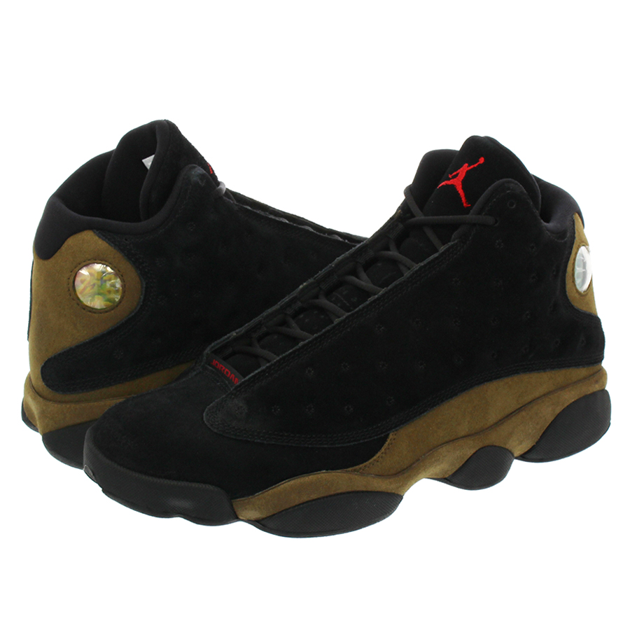 197271880cb886 NIKE AIR JORDAN 13 RETRO Nike Air Jordan 13 nostalgic BLACK TRUE RED LIGHT  OLIVE WHITE 414