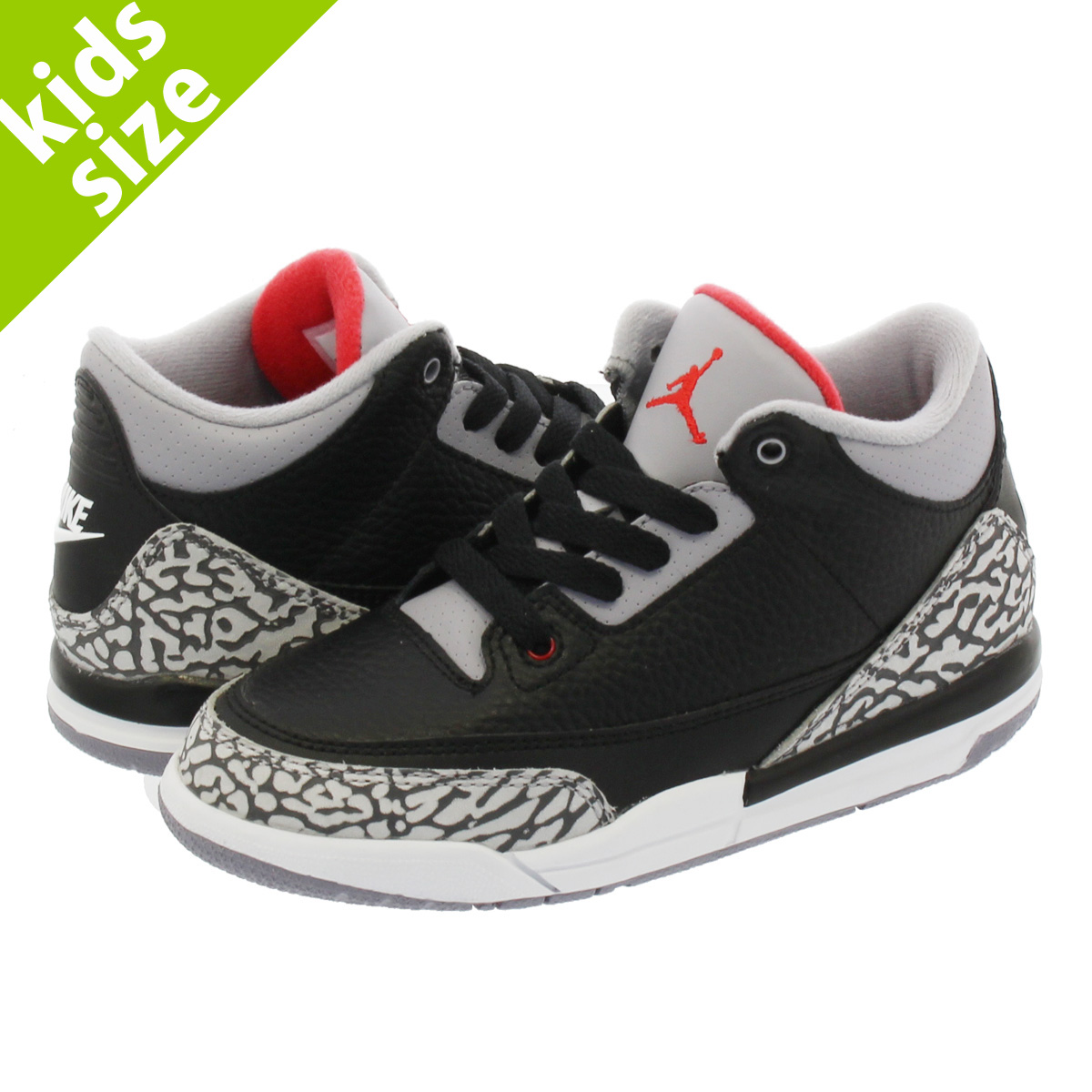 84a63166d2d1 NIKE AIR JORDAN 3 RETRO BP Nike Air Jordan 3 nostalgic BP BLACK FIRE RED CEMENT  GREY WHITE
