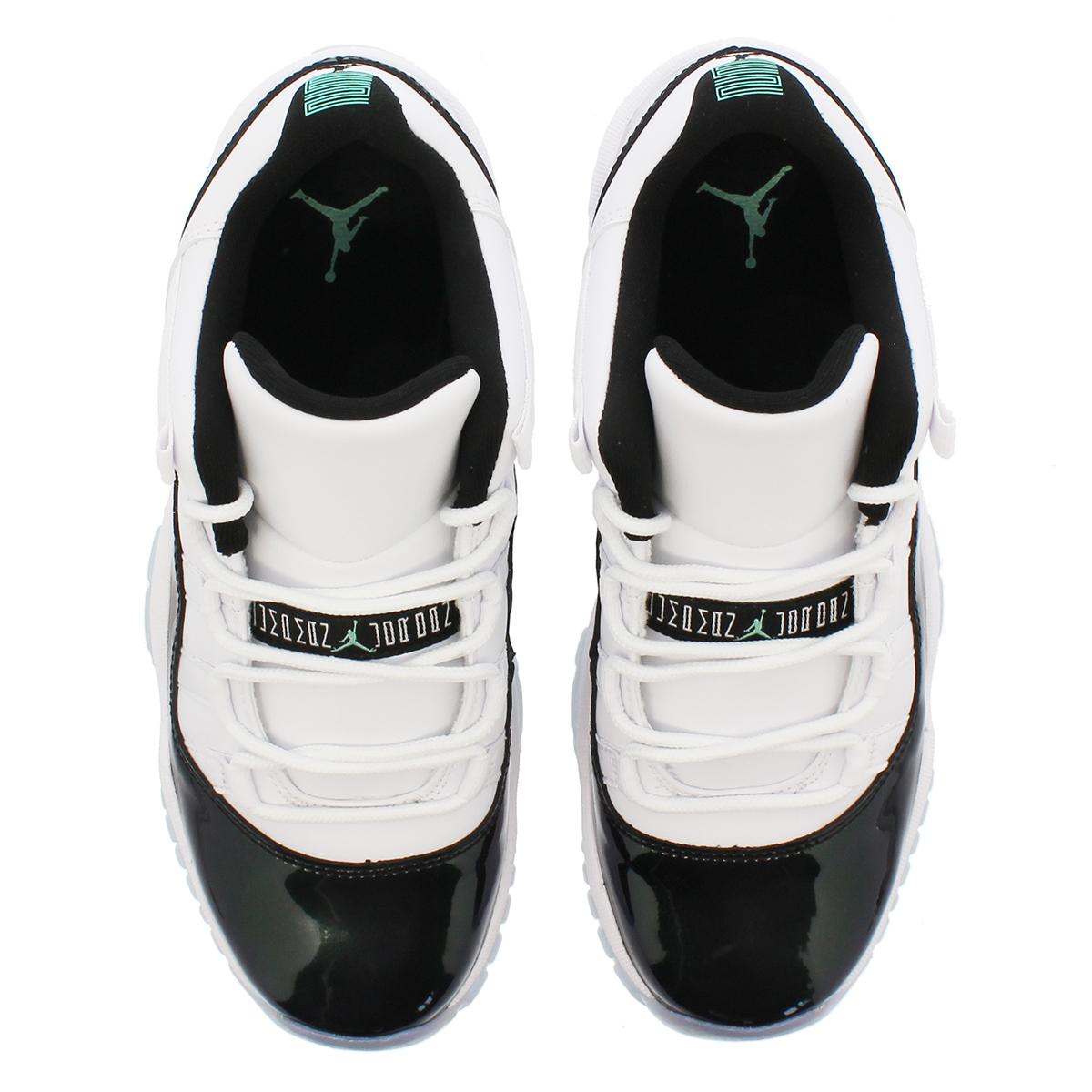 2ade0984c55f95 NIKE AIR JORDAN 11 RETRO LOW BG Nike Air Jordan 11 nostalgic low BG  WHITE BLACK EMERALD RISE 528