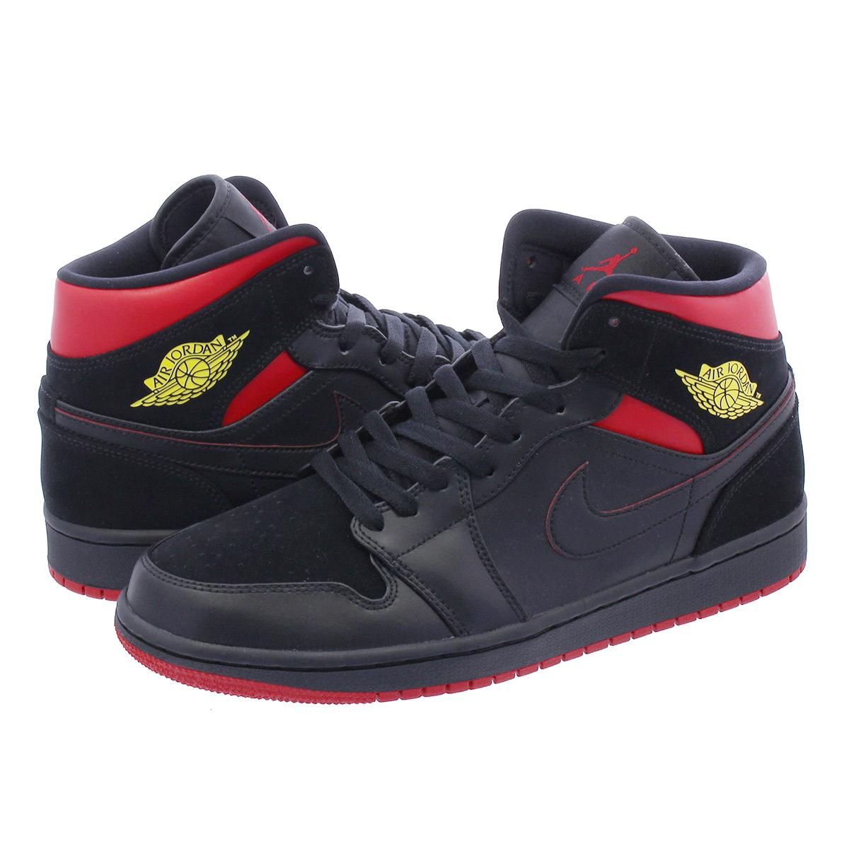 9989d9fed4c6 NIKE AIR JORDAN 1 MID Nike Air Jordan 1 mid BLACK VARSITY RED YELLOW 554