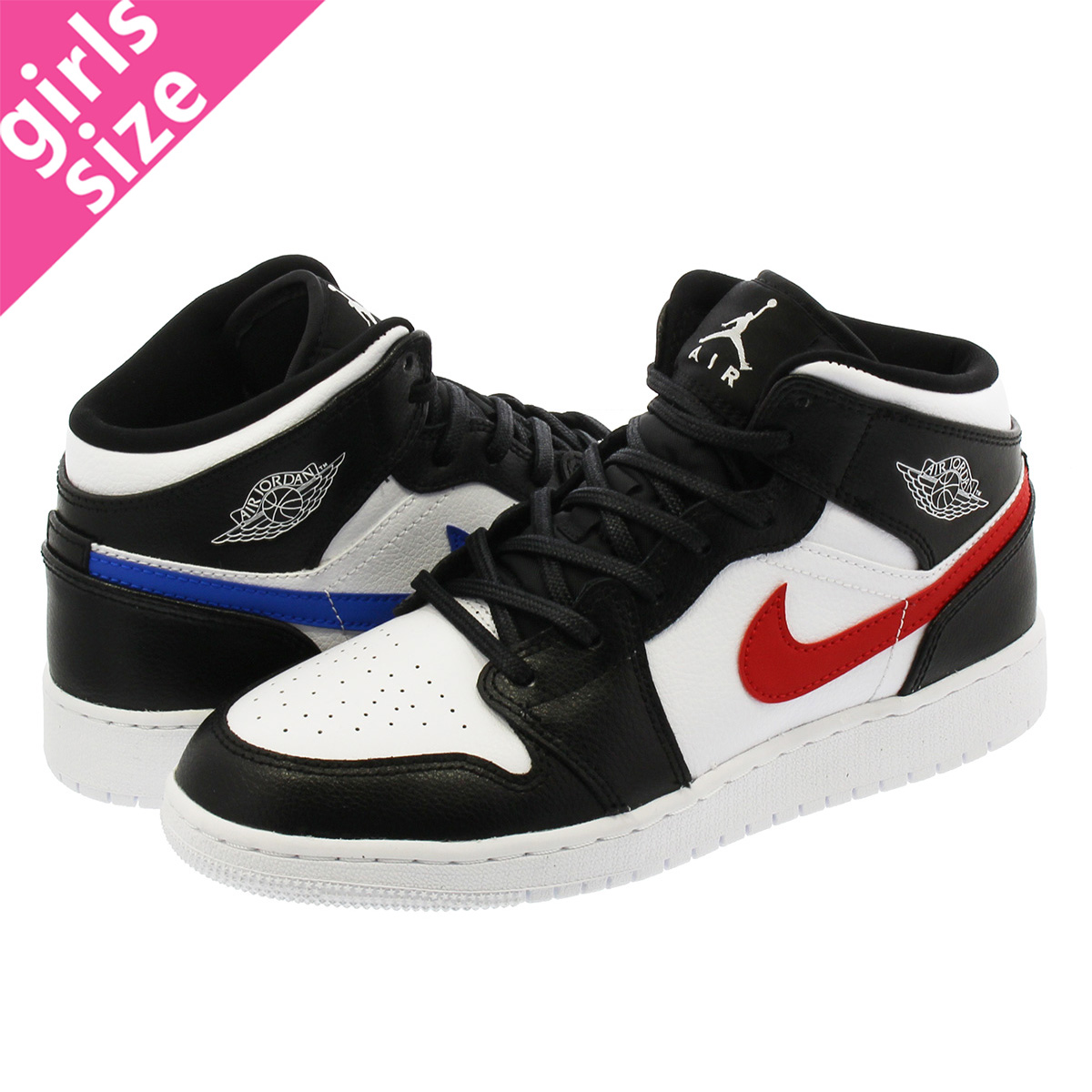 7fc7f63e3305b NIKE AIR JORDAN 1 MID BG Nike Air Jordan 1 mid BG BLACK WHITE RED YELLOW  BLUE GREEN 554