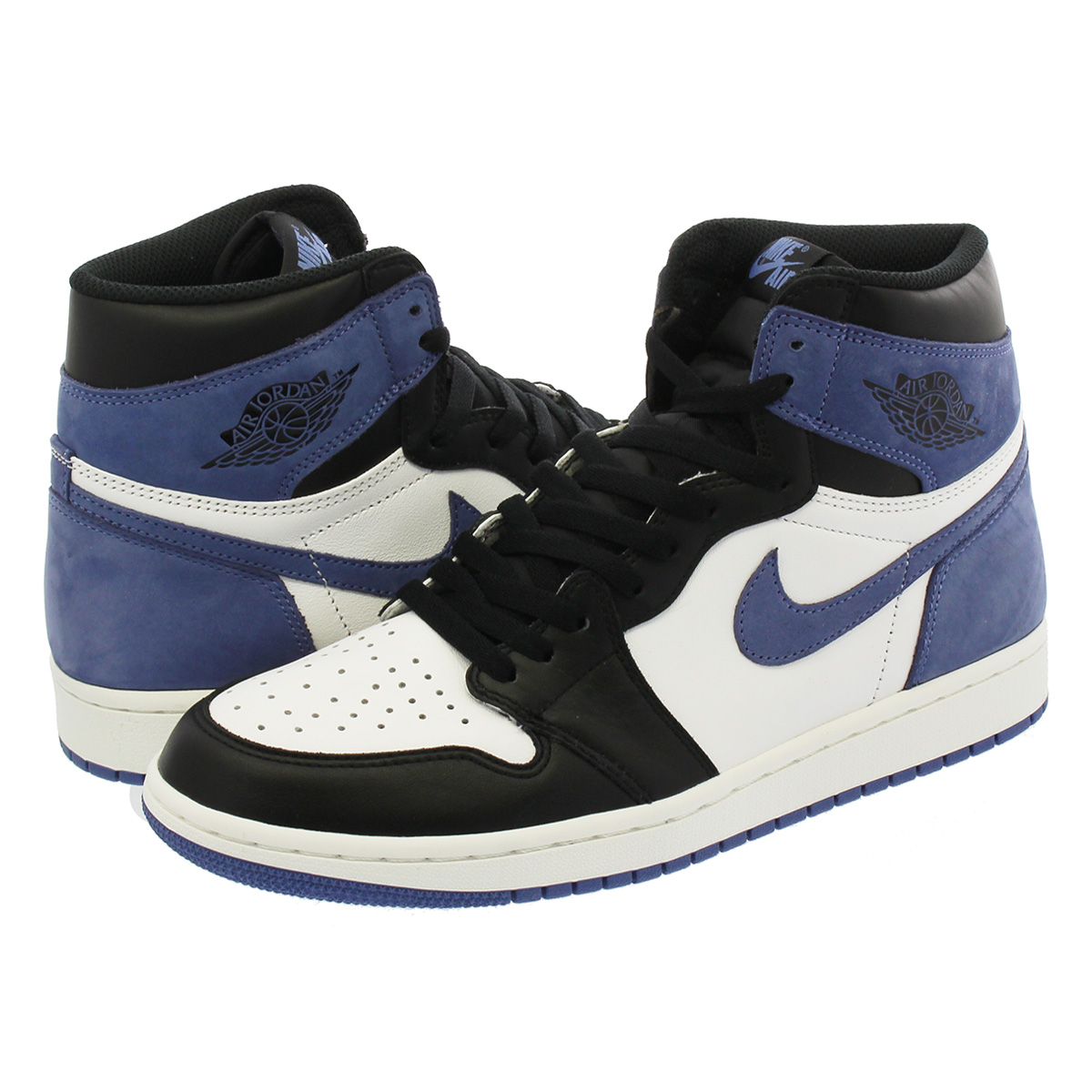 1fed96595470 NIKE AIR JORDAN 1 RETRO HIGH OG Nike Air Jordan 1 nostalgic high OG SUMMIT  WHITE BLUE MOON BLACK 555