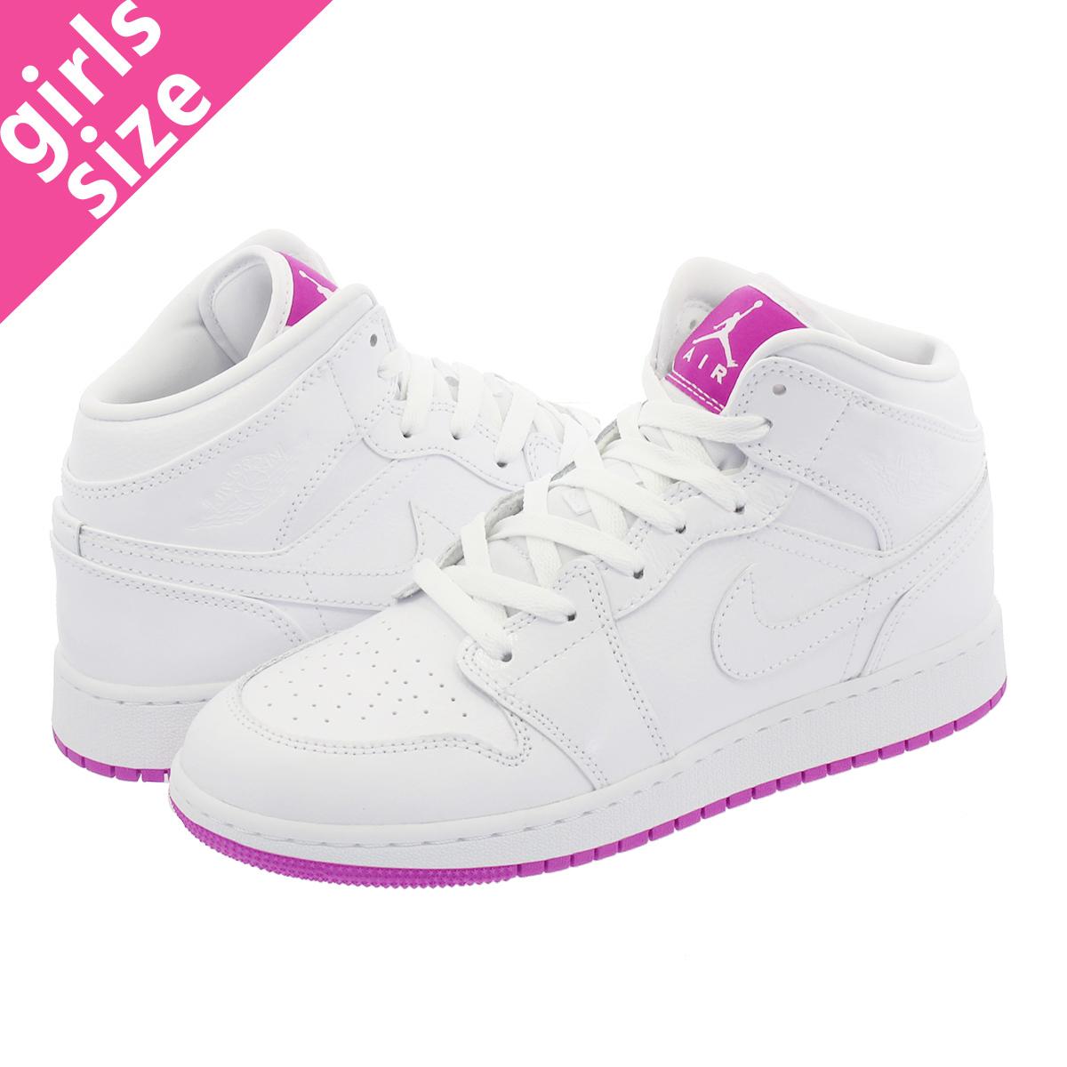a4d7da6ece10 NIKE AIR JORDAN 1 MID GG Nike Air Jordan 1 mid GG WHITE FUSCHIA BLAST  555