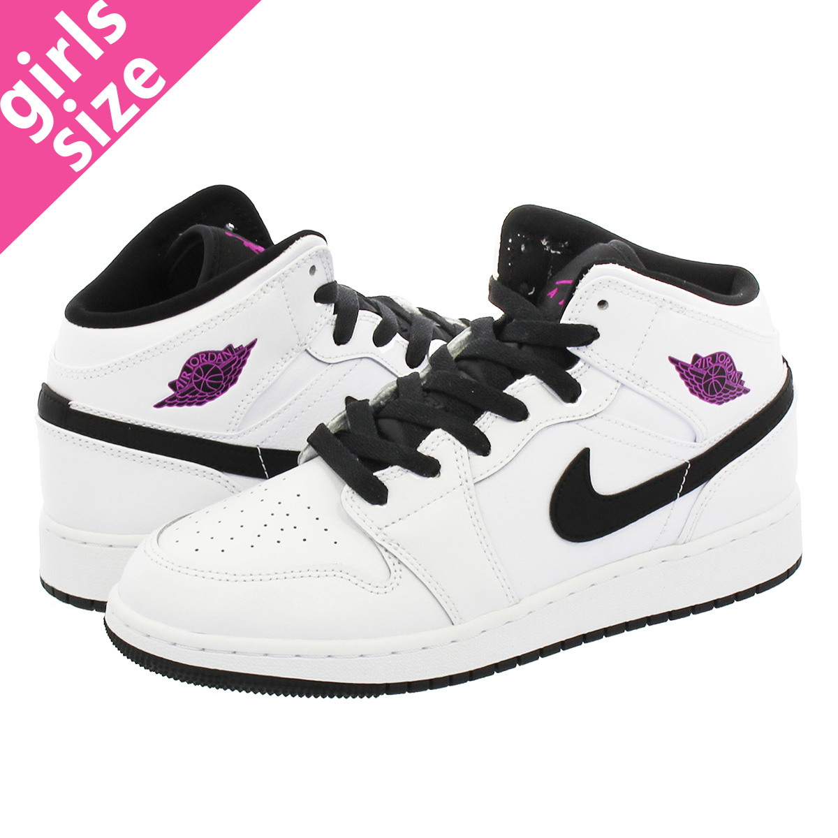f522154eb0755e NIKE AIR JORDAN 1 MID GG Nike Air Jordan 1 mid GG WHITE BLACK FUSCHIA BLAST  555