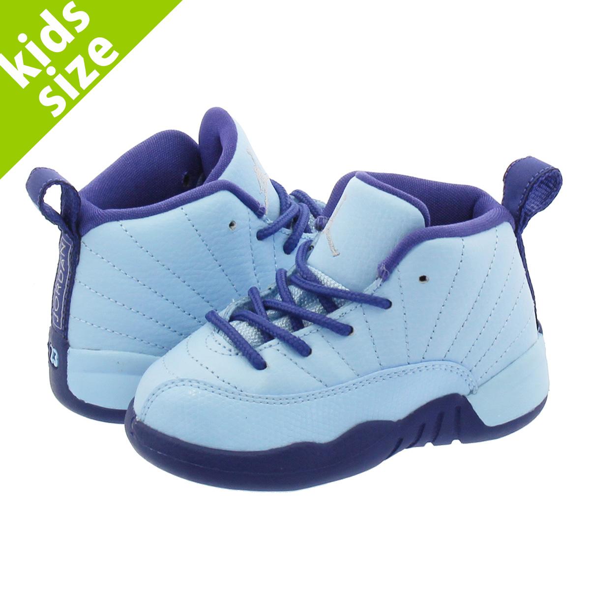 4acbc81b4b4 NIKE AIR JORDAN 12 RETRO TD Nike Air Jordan 12 nostalgic TD LIGHT BLUE NAVY  BLUE