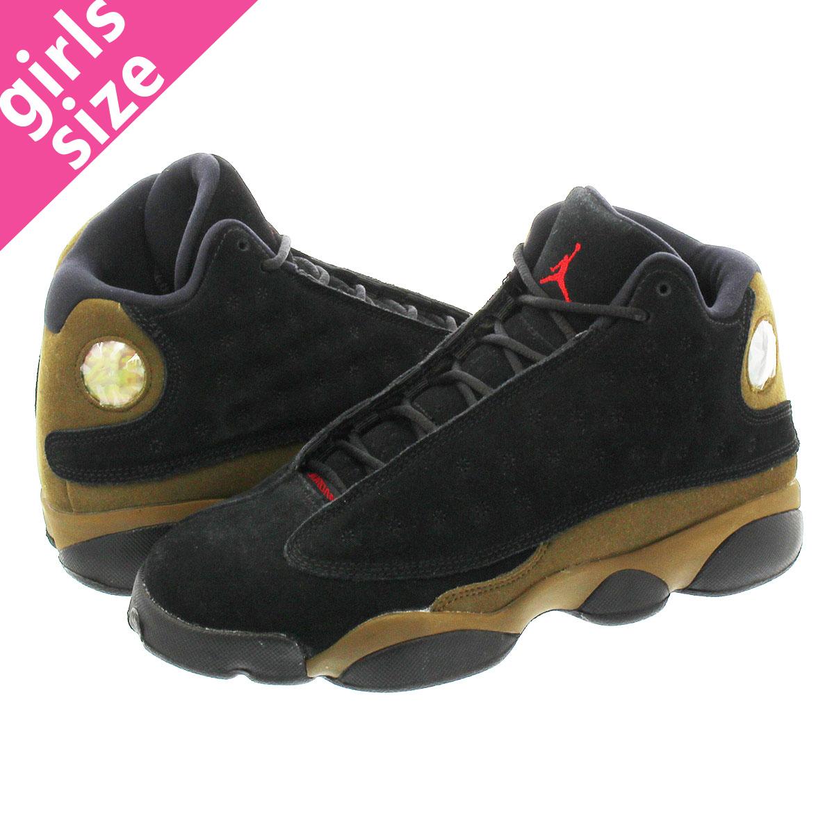 pretty nice 6bc82 33043 NIKE AIR JORDAN 13 RETRO BG Nike Air Jordan 13 nostalgic BLACK/TEAM  RED/OLIVE 884,129-006