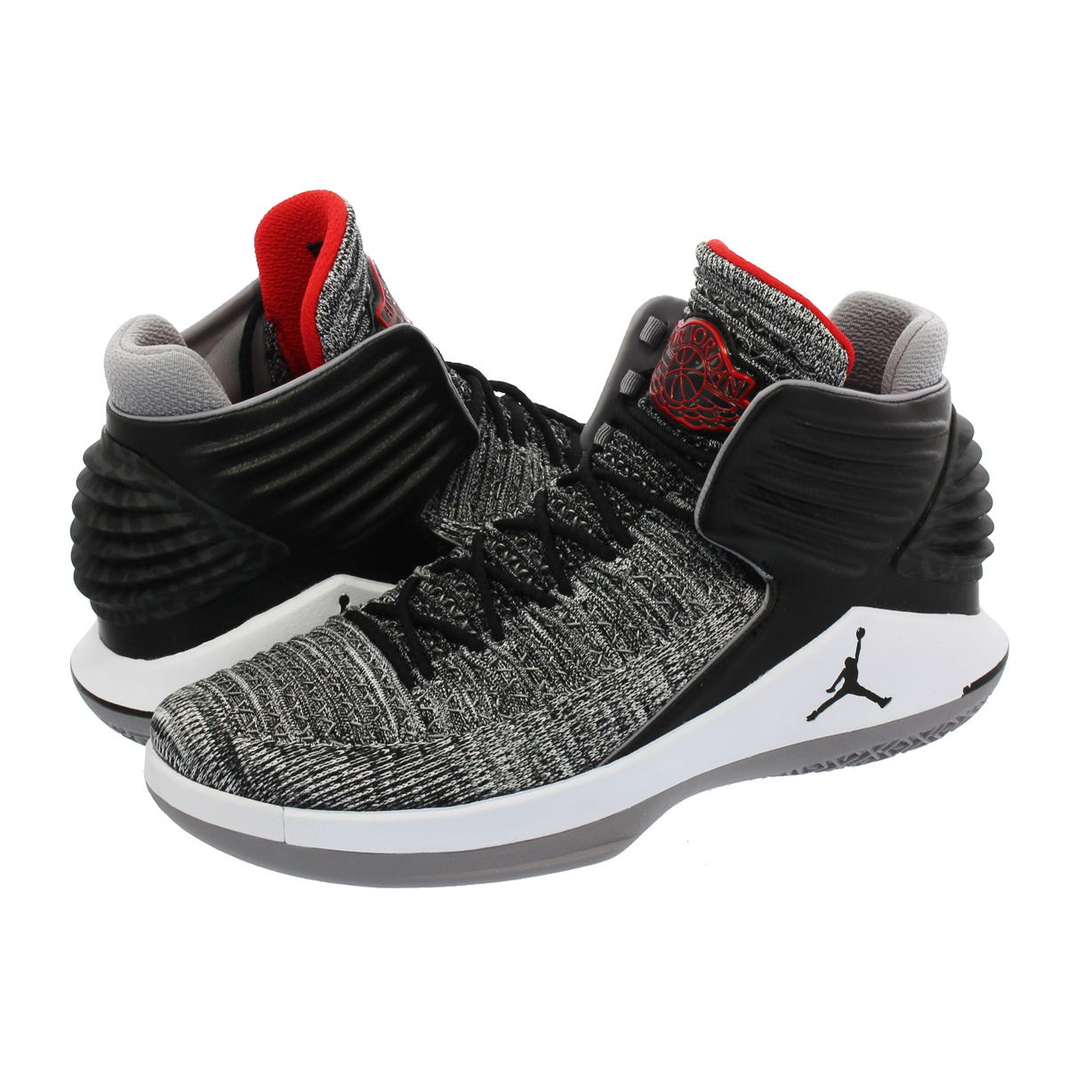 NIKE AIR JORDAN XXXII Nike Air Jordan 32 BLACK UNIVERSITY RED WHITE CEMENT  GREY 0771f4569af