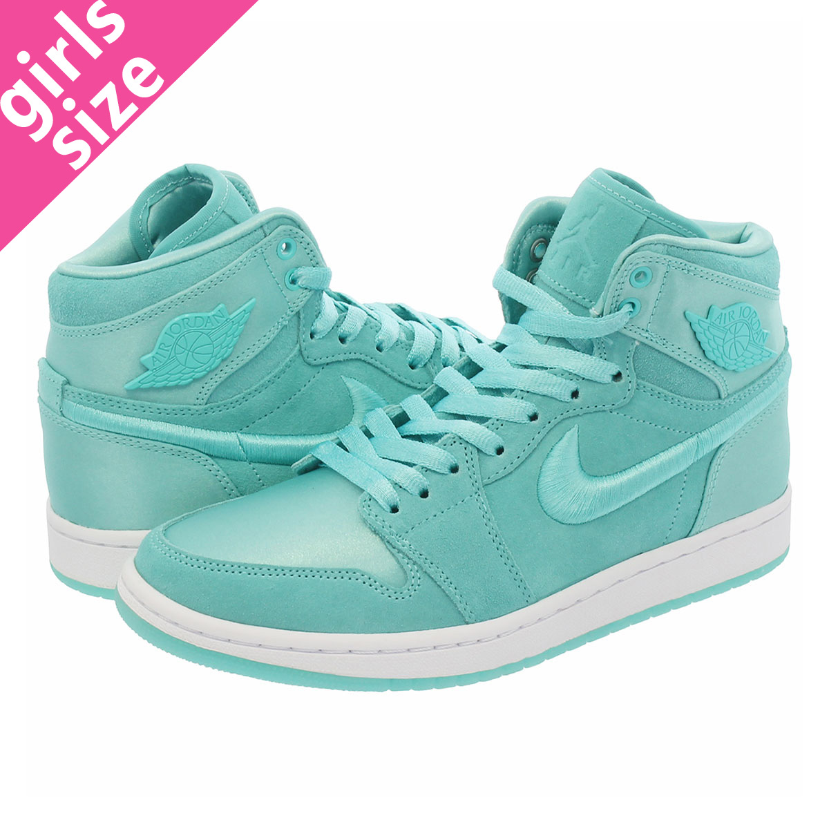 NIKE WMNS AIR JORDAN 1 RETRO HIGH 【SEASON OF HER】 ナイキ ウィメンズ エア ジョーダン 1 レトロ ハイ LIGHT AQUA/WHITE/METALLIC GOLD ao1847-440