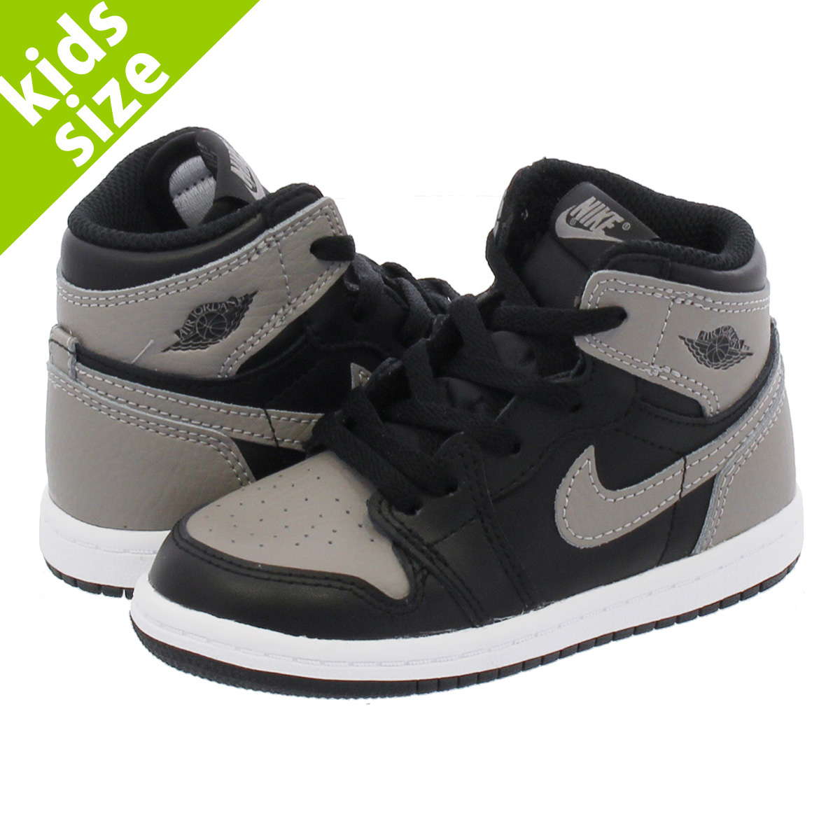 【ベビーサイズ】【8-16cm】 NIKE AIR JORDAN 1 RETRO HIGH OG BT 【SHADOW】 ナイキ エア ジョーダン 1 レトロ ハイ OG BT BLACK/MEDIUM GREY/WHITE aq2665-013