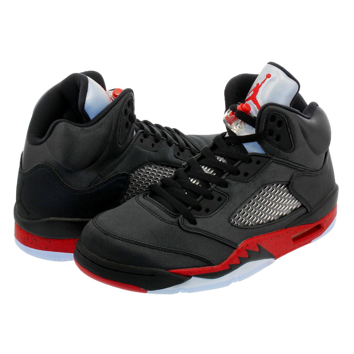 5fe528bb4a3d12 NIKE AIR JORDAN 5 RETRO Nike Air Jordan 5 nostalgic SATIN BLACK UNIVERSITY  RED 136