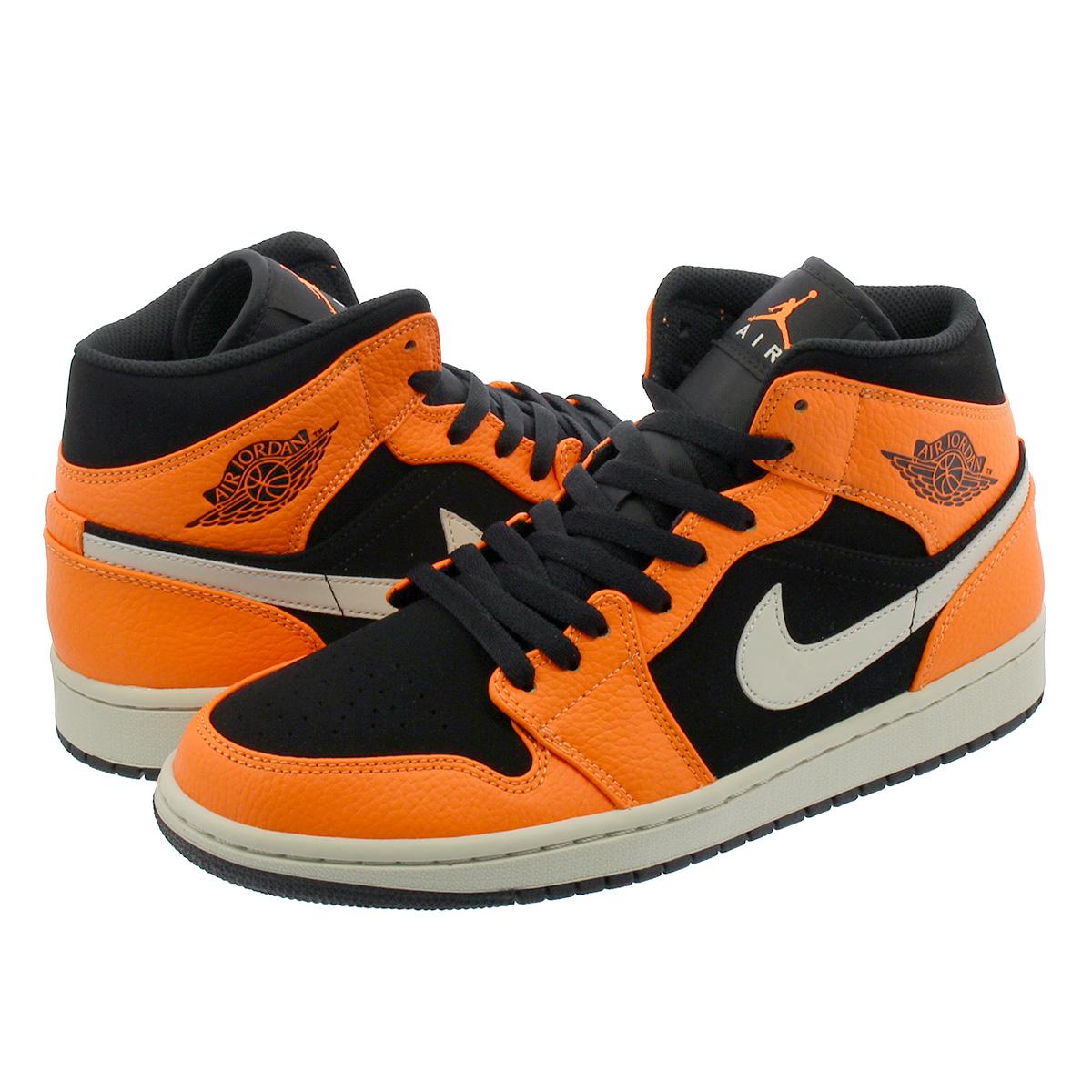 c7ca79710433ca NIKE AIR JORDAN 1 MID Nike Air Jordan 1 mid BLACK CONE LIGHT BONE ORANGE  554