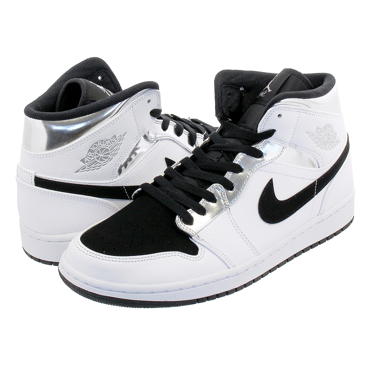 super popular 56878 81149 NIKE AIR JORDAN 1 MID Nike Air Jordan 1 mid WHITE METALLIC SILVER BLACK ...