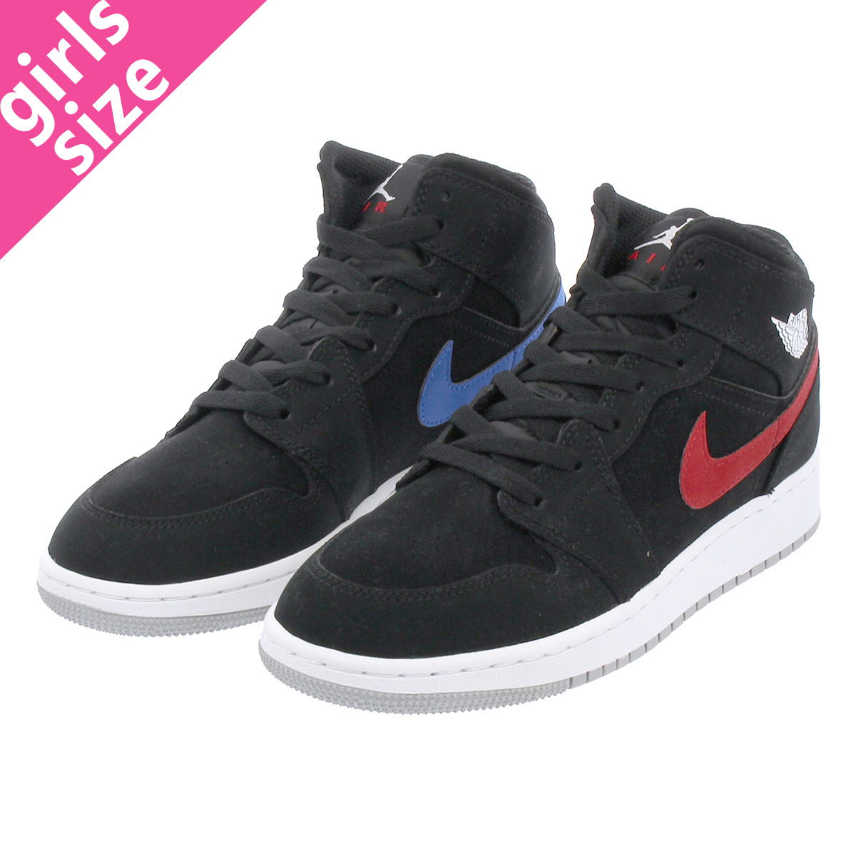 detailed look bf8a7 6721b NIKE AIR JORDAN 1 MID BG Nike Air Jordan 1 mid BG BLACK WHITE  ...
