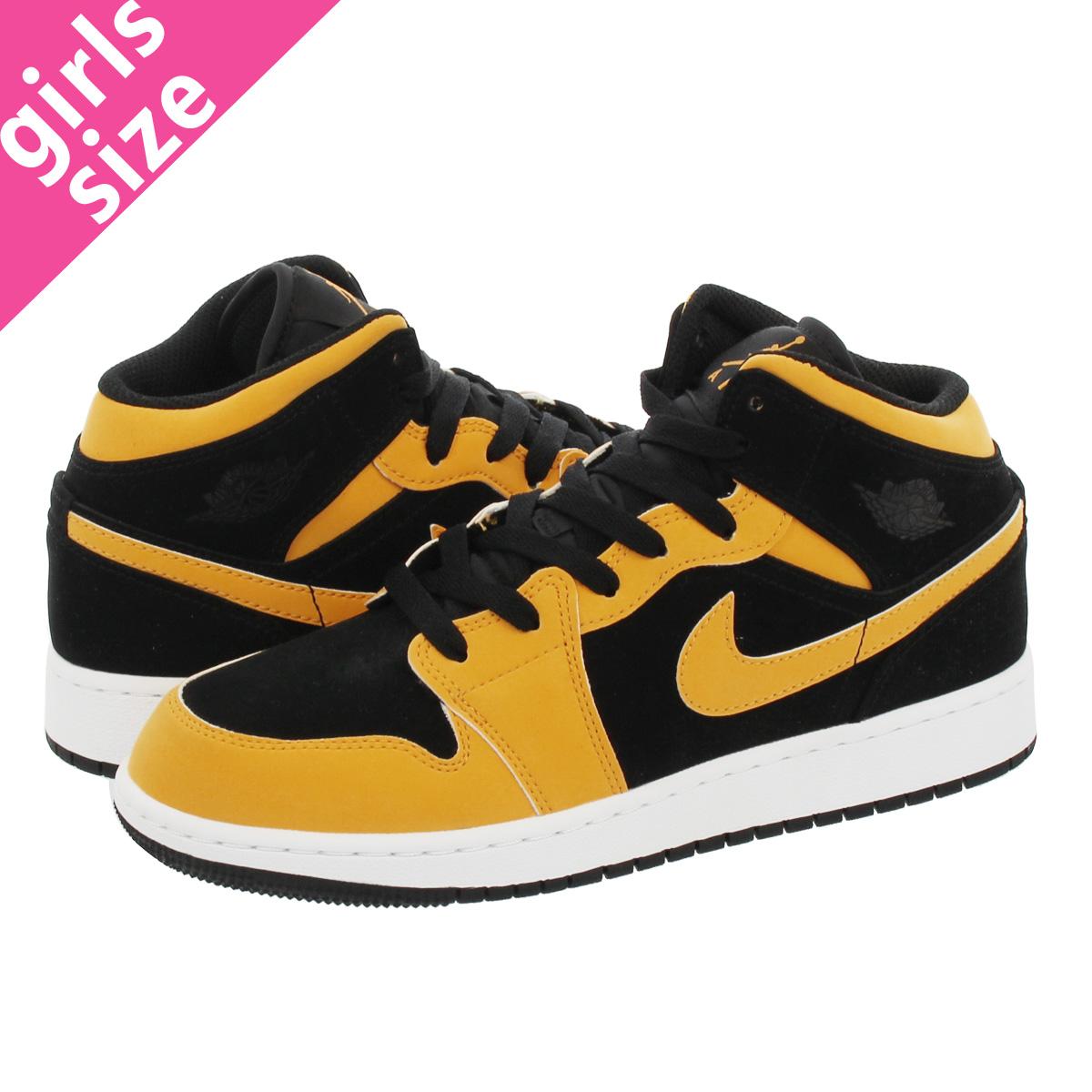 ec8eea1f381 NIKE AIR JORDAN 1 MID BG Nike Air Jordan 1 mid BG BLACK/UNIVERSITY GOLD ...