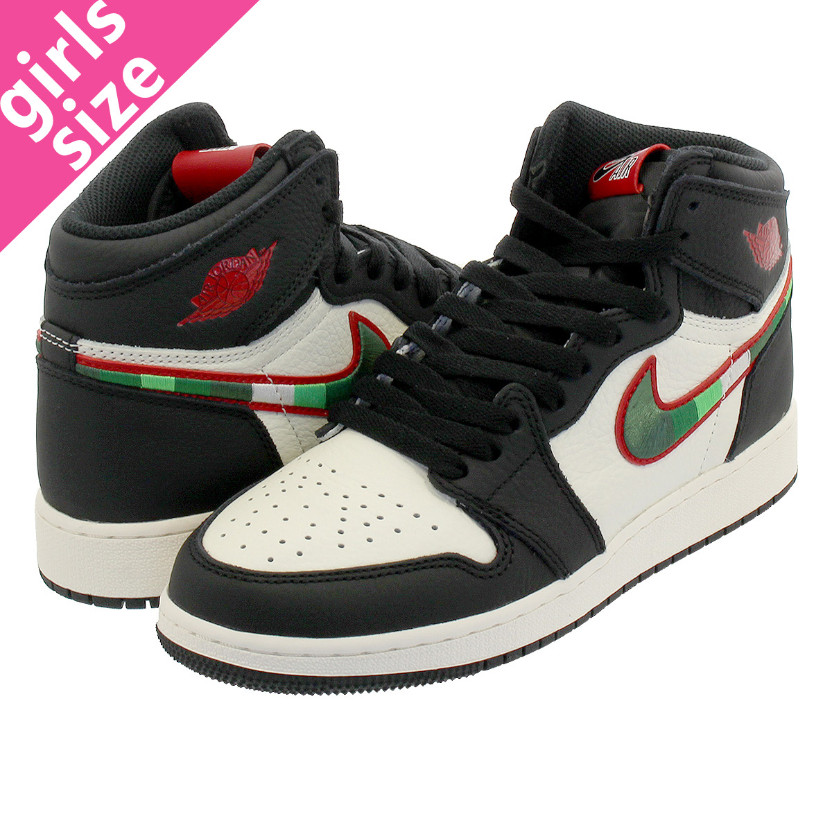 c086493fd32a NIKE AIR JORDAN 1 RETRO HIGH OG BG BLACK SAIL UNIVERSITY BLUE VARSITY RED  575