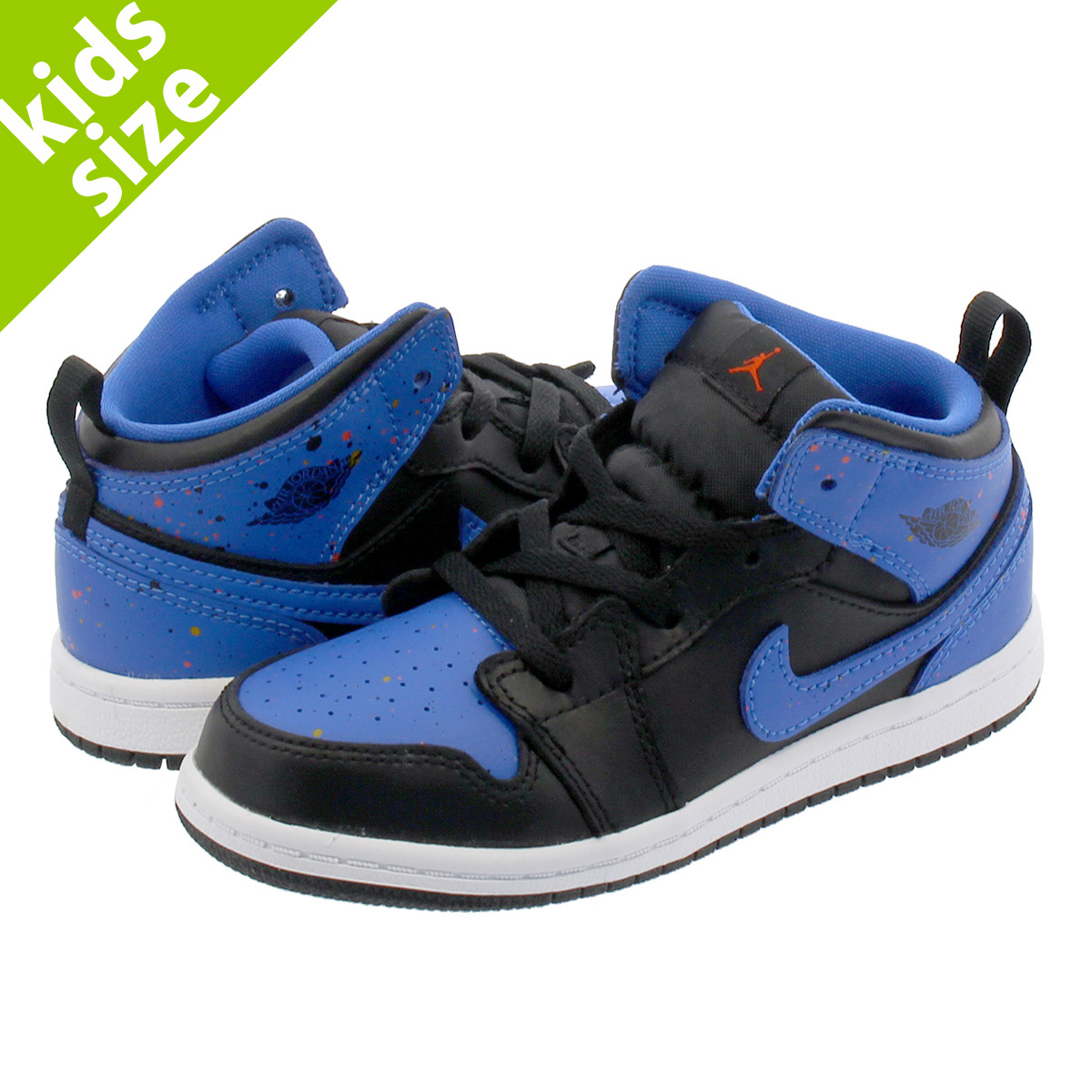 【ベビーサイズ】【8-16cm】 NIKE AIR JORDAN 1 MID BT ナイキ エア ジョーダン 1 ミッド BT BLACK/SIGNAL BLUE/TEAM ORANGE 640735-048