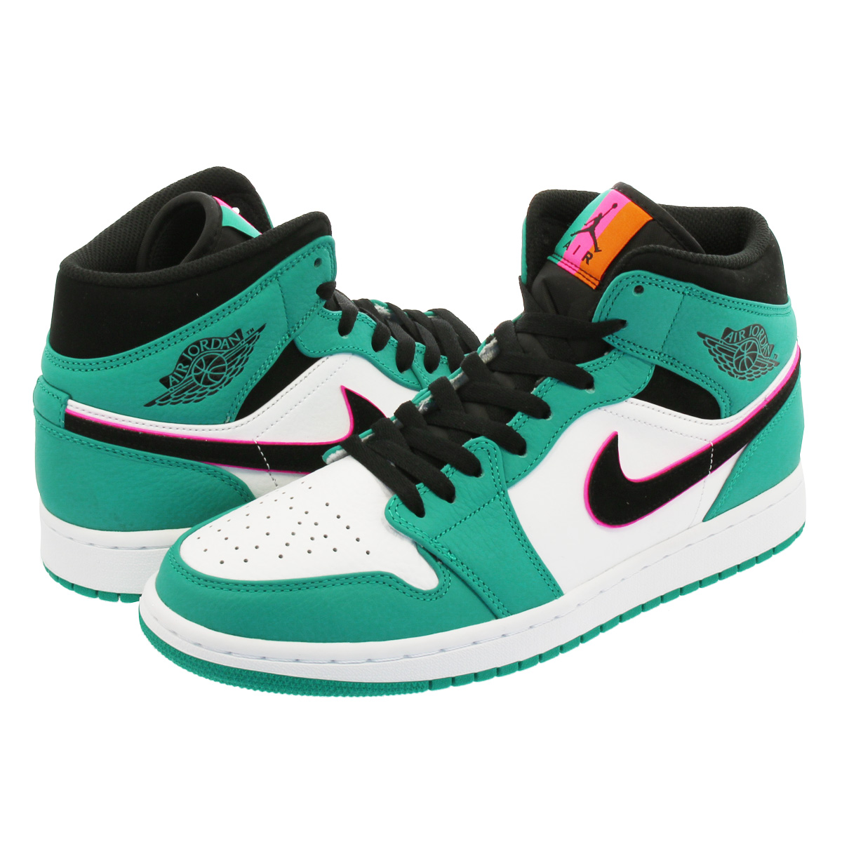 d7570e3c648 NIKE AIR JORDAN 1 MID SE Nike Air Jordan 1 mid SE TURBO GREEN BLACK HYPER  PINK ORANGE PEEL 852