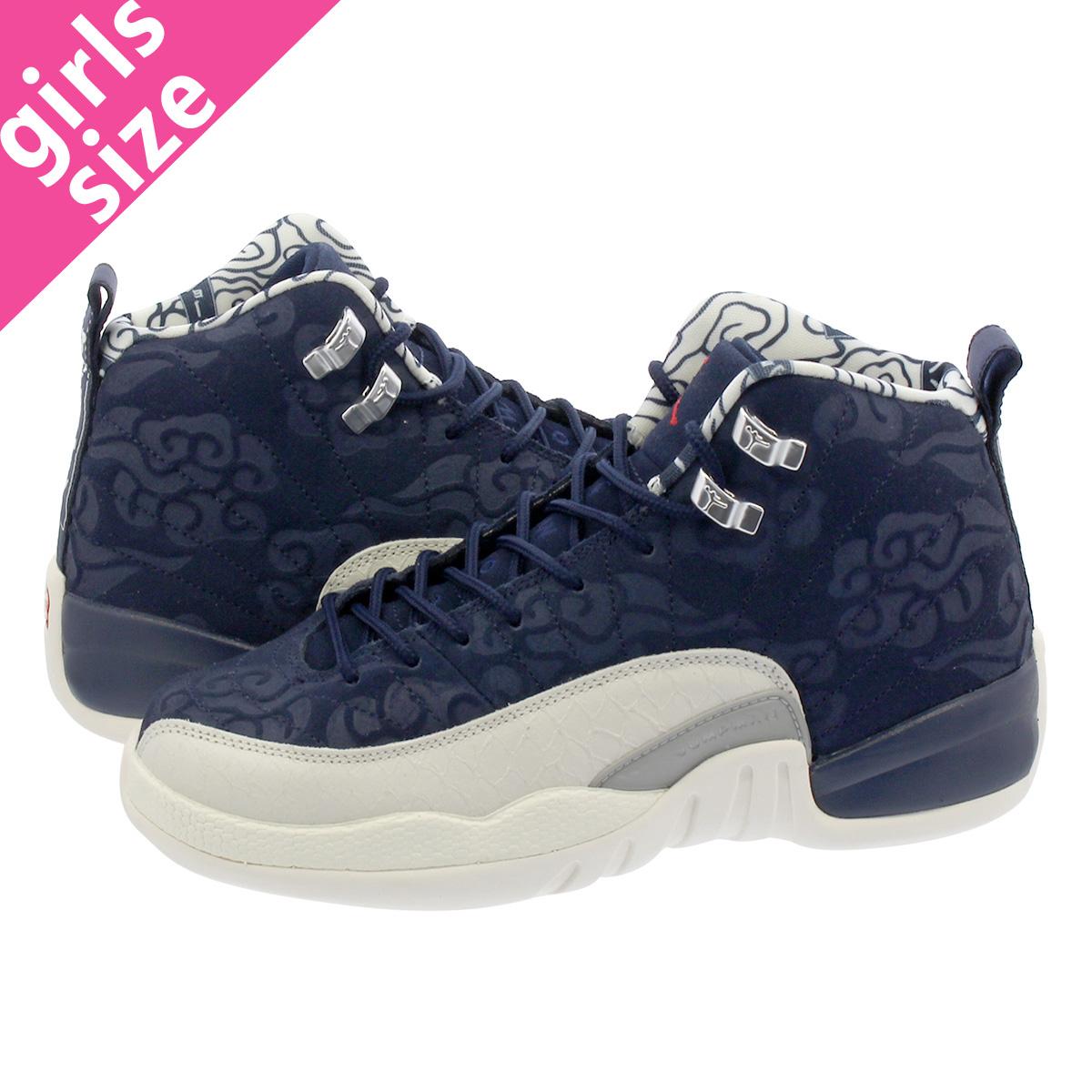 312462108687d9 NIKE AIR JORDAN 12 RETRO GS Nike Air Jordan 12 nostalgic GS COLLEGE  NAVY SAIL UNIVERSITY RED bv8017-445